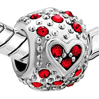 Charms Beads - BLING GARNET RED SWAROVSKI CRYSTAL HEART CHARM BRACELET CHARM BRACELET alternate image 1.