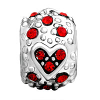 Charms Beads - BLING GARNET RED SWAROVSKI CRYSTAL HEART CHARM BRACELET CHARM BRACELET alternate image 2.