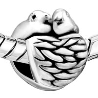 European Beads - TWO BIRDS AND NEST SILVER PLATED BEADS CHARMS BRACELETS alternate image 1.