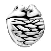European Beads - TWO BIRDS AND NEST SILVER PLATED BEADS CHARMS BRACELETS alternate image 2.