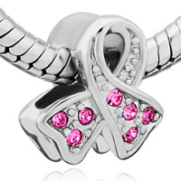 Charms Beads - BREAST CANCER AWARENESS PINK RIBBON BEAD CHARM BRANDS CHARM BRACELET alternate image 1.