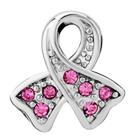 Charms Beads - BREAST CANCER AWARENESS PINK RIBBON BEAD CHARM BRANDS CHARM BRACELET alternate image 2.
