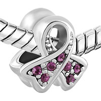 Charms Beads - BREAST CANCER CHARM AWARENESS BEAD RIBBON FEB BIRTHS PURPLE CRYSTAL alternate image 1.