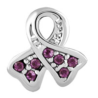 Charms Beads - BREAST CANCER CHARM AWARENESS BEAD RIBBON FEB BIRTHS PURPLE CRYSTAL alternate image 2.