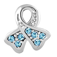 Charms Beads - BREAST CANCER CHARM AWARENESS BEAD RIBBON MAR BIRTHS BLUE CRYSTAL alternate image 2.
