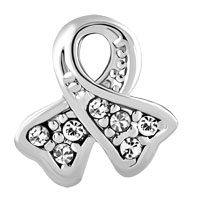 Charms Beads - BREAST CANCER AWARENESS RIBBON APRIL BIRTHSTONE CLEAR WHITE CRYSTAL alternate image 2.