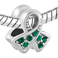 Charms Beads - BREAST CANCER AWARENESS BEAD RIBBON MAY BIRTHSTONE EMERALD CRYSTAL alternate image 1.