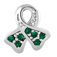 Charms Beads - BREAST CANCER AWARENESS BEAD RIBBON MAY BIRTHSTONE EMERALD CRYSTAL alternate image 2.