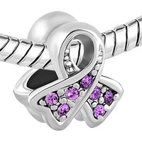 Charms Beads - BREAST CANCER CHARM AWARENESS RIBBON JUNE BIRTHSTONE PURPLE CRYSTAL alternate image 1.