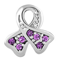 Charms Beads - BREAST CANCER CHARM AWARENESS RIBBON JUNE BIRTHSTONE PURPLE CRYSTAL alternate image 2.