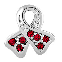 Charms Beads - BREAST CANCER CHARM AWARENESS RIBBON JULY BIRTHSTONE LIGHT RED CRYSTAL alternate image 2.