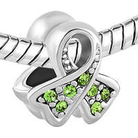 Charms Beads - BREAST CANCER AWARENESS RIBBON AUGUST BIRTHSTONE PERIDOT GREEN CRYSTAL alternate image 1.