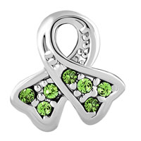 Charms Beads - BREAST CANCER AWARENESS RIBBON AUGUST BIRTHSTONE PERIDOT GREEN CRYSTAL alternate image 2.