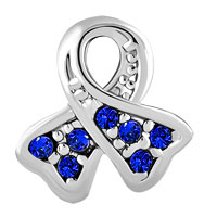 Charms Beads - BREAST CANCER AWARENESS RIBBON SEP BIRTHSTONE SAPPHIRE BLUE CRYSTAL alternate image 2.