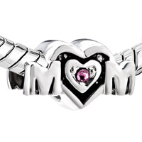 Sterling Silver Jewelry - BIRTHSTONE CHARMS MOTHER DAUGHTER CHARMS PINK CRYSTAL MOM HEART 925 STERLING SILVER BEAD alternate image 1.
