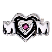 Sterling Silver Jewelry - BIRTHSTONE CHARMS MOTHER DAUGHTER CHARMS PINK CRYSTAL MOM HEART 925 STERLING SILVER BEAD alternate image 2.
