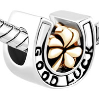 Charms Beads - SILVER HEART CHARM BRACELET SHAMROCK CLOVER GOOD LUCK HORSESHOE BEAD alternate image 1.