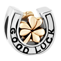 Charms Beads - SILVER HEART CHARM BRACELET SHAMROCK CLOVER GOOD LUCK HORSESHOE BEAD alternate image 2.