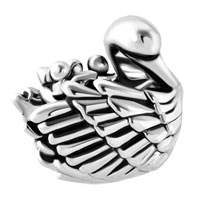 Italian Charms - MOM AND THREE BABY CHILD SWAN FAMILY LOVE ANIMAL CHARM FOR BRACELETS alternate image 2.