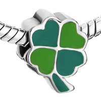 Charms Beads - SILVER FOURLEAF CLOVER GREEN YELLOW EUROPEAN BEAD CHARMS BRACELETS alternate image 1.