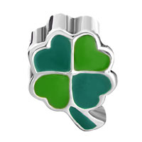 Charms Beads - SILVER FOURLEAF CLOVER GREEN YELLOW EUROPEAN BEAD CHARMS BRACELETS alternate image 2.