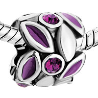 Charms Beads - PURPLE PETAL FEBRUARY BIRTHS AMETHYST CRYSTAL ROUND BEADS CHARMS alternate image 1.