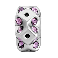 Charms Beads - ROUND METAL SQUARE VIOLET RHINESTONE CRYSTAL BEADS CHARMS BRACELETS alternate image 2.