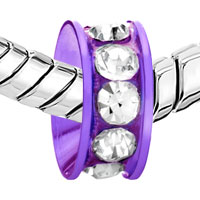 Charms Beads - SILVER PLATED PURPLE RING CRYSTAL CLEAR EUROPEAN BEAD CHARM BRACELET alternate image 1.