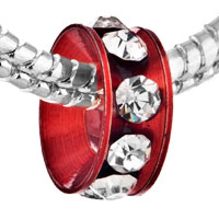 Charms Beads - SILVER PLATED RED RING CRYSTAL CLEAR EUROPEAN BEAD CHARMS BRACELETS alternate image 1.