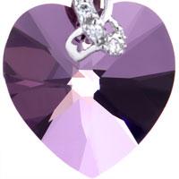 Earrings - FEBRUARY BIRTHSTONE SWAROVSKI PURPLE CRYSTAL HEART DANGLE GIFT EARRINGS alternate image 2.