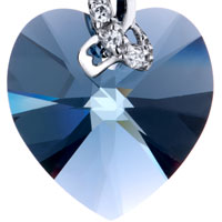 Earrings - BEAUTIFUL MARCH BIRTHSTONE AQUAMARINE SWAROVSKI CRYSTAL HEART DANGLE GIFT EARRINGS alternate image 2.