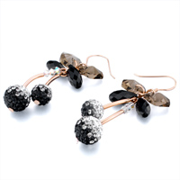 Earrings - BLACK CRYSTAL HEART DROP CLUSTER CHERRY BALL DANGLE HOOK EARRINGS alternate image 1.
