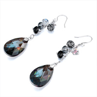 Earrings - BALL SMOKED TOPAZ SWAROVSKI CRYSTAL DROP DANGLE GIFT EARRINGS alternate image 1.