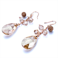 Earrings - BALL NOVEMBER BIRTHSTONE SWAROVSKI TOPAZ DROP DANGLE GIFT EARRINGS alternate image 1.