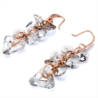 Earrings - GRAY SWAROVSKI CRYSTAL CLUSTER TRIANGLE DANGLE GIFT EARRINGS alternate image 1.