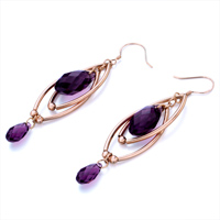 Earrings - DOUBLE GOLDEN OVAL DANGLE FEBRUARY BIRTHSTONE SWAROVSKI PURPLE CRYSTAL PAVE TEARDROP EARRINGS alternate image 1.