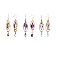 Earrings - DOUBLE GOLDEN OVAL DANGLE FEBRUARY BIRTHSTONE SWAROVSKI PURPLE CRYSTAL PAVE TEARDROP EARRINGS alternate image 3.