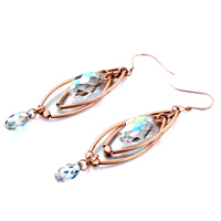Earrings - DOUBLE GOLDEN OVAL DANGLE BIG SMALL COLOR LIGHT SWAROVSKI CRYSTAL PAVE TEARDROP EARRINGS alternate image 1.