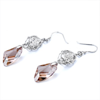 Earrings - FLOWER BELL NOVEMBER BIRTHSTONE TOPAZ SWAROVSKI CRYSTAL UTIPIAN DROP DANGLE GIFT EARRINGS alternate image 1.