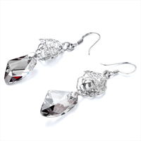 Earrings - DOUBLE HOLLOW FLOWER GRAY SWAROVSKI CRYSTAL UTOPIAN DROP DANGLE EARRINGS alternate image 1.