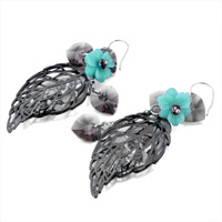 Earrings - PACIFIC OPAL FLOWER GRAY HOLLOW LEAF DANGLE CRYSTAL HEART EARRINGS alternate image 1.