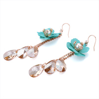 Earrings - AQUAMARINE FLOWER PEARL NOVEMBER BIRTHSTONE SWAROVSKI TOPAZ CRYSTAL DROP DANGLE GIFT EARRINGS alternate image 1.