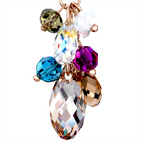 Earrings - NOVEMBER BIRTHSTONE SWAROVSKI TOPAZ CRYSTAL ROUND COLORFUL CLUSTER DANGLE GIFT EARRINGS alternate image 2.