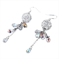 Earrings - BALL APRIL BIRTHSTONE SWAROVSKI CLEAR CRYSTAL PAVE TEARDROP HEART DANGLE EARRINGS alternate image 1.
