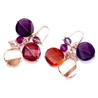 Earrings - COLORFUL CRYSTAL CLUSTER PURPLE ROUND DANGLE RED TOPAZ SWAROVSKI EARRINGS alternate image 1.