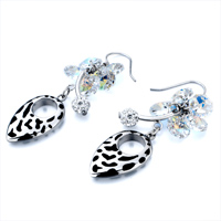 Earrings - APRIL BIRTHSTONE CLEAR CRYSTAL CLUSTER BALL OVAL DANGLE EARRINGS alternate image 1.