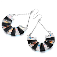 Earrings - BLACK COLOR LIGHT SWAROVSKI CRYSTAL HALF CIRCLE FORMED LADDERS DANGLE EARRINGS alternate image 1.