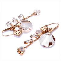 Earrings - HEART NOVEMBER BIRTHSTONE TOPAZ CRYSTAL DROP FAN DANGLE EARRINGS alternate image 1.