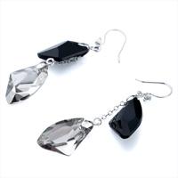 Earrings - CLASSIC BLACK GRAY SWAROVSKI CRYSTAL UTOPIAN DROP DANGLE EARRINGS alternate image 1.