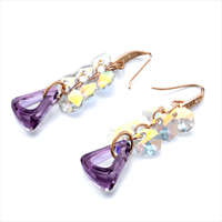 Earrings - COLOR LIGHT CLUSTER PURPLE BIRTHSTONE SWAROVSKI TRIANGLE DANGLE CRYSTAL EARRINGS alternate image 1.
